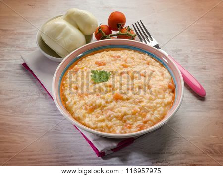 risotto with fresh tomatoes  and scamorza cheese