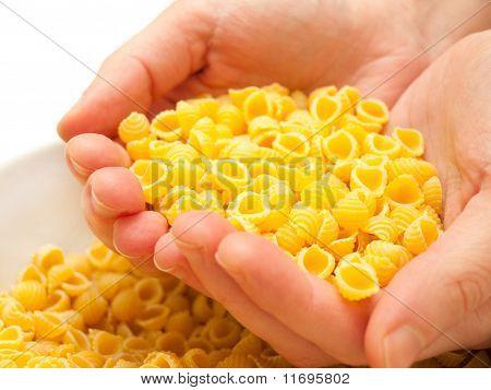 Raw Conchigliette In Woman Hands.
