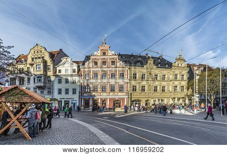 People At One Of The Central Streets Of The City Of Erfurt