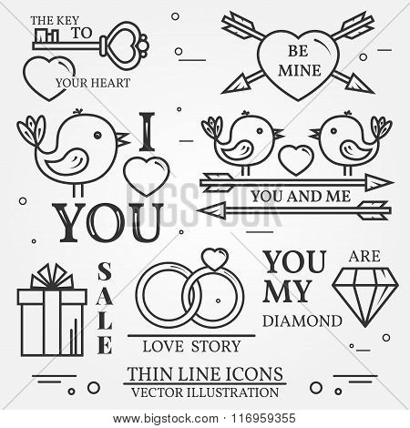 Vector Thin Line Badge, Label Set For Saint Valentine's Day And Love Theme. For Web Design And Appli