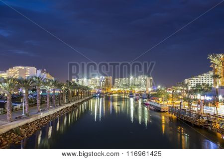 Canal To Harbor In Eilat, Israel