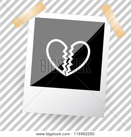 unrequited love. Photoframe. Raster icon.