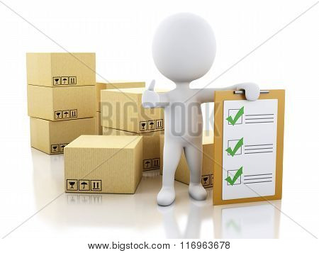 3D White People With Clipboard Checklist And Cardboard Boxes.