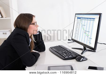 Businesswoman Looking At Gantt Chart On Computer