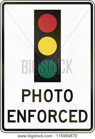 Road Sign Used In The Us State Of Virginia - Traffic Lights Photo Enforced