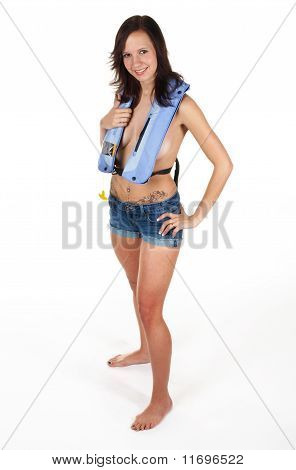 Brunette With Tattoos In A Life Jacket