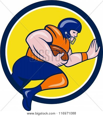 American Football Running Back Charging Circle Cartoon