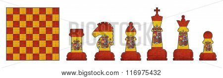 Chess Pieces With Spain Flag.eps