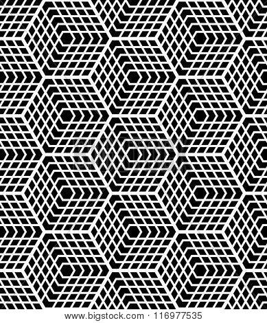 Seamless op art geometric pattern. Latticed structure. Vector art.