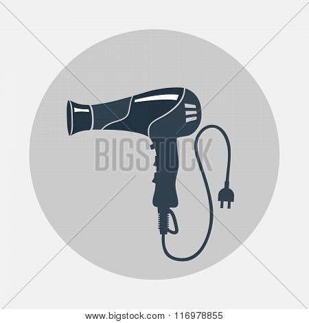 Hairdryer, blow dryer, two-pin plug icon. Professiona hairdresser tool symbol. Black sign on round g