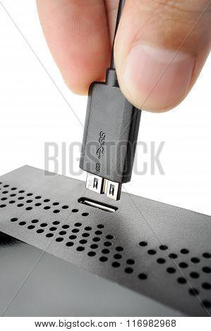 computer accessories, closeup hi-speed USB 3.0 connector