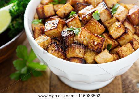 Stir fried tofu in a bowl
