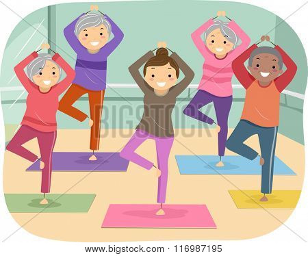 Illustration of Senior Citizens Enjoying their Yoga Indoor Activity