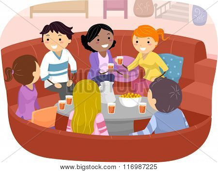 Stickman Illustration of Friends Chatting While Drinking