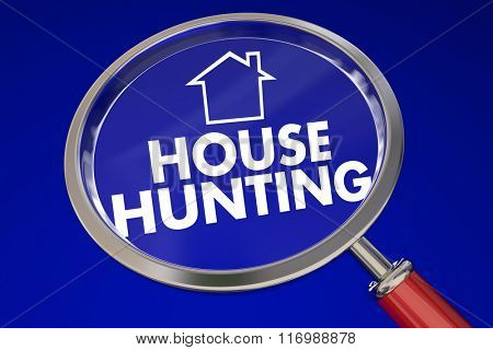 House Hunting words and home icon under a magnifying glass on blue background to illustrate moving or relocating to new property