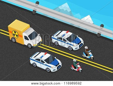 Police Motorcade Car Important Toxic Load