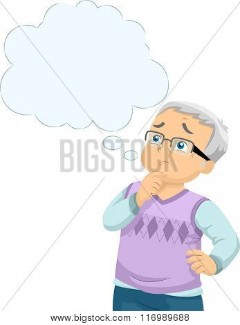 Illustration of a Male Senior Citizen Worried About Alzheimers Disease