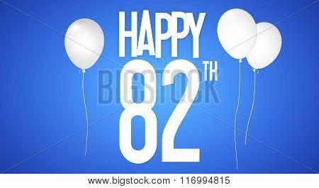 Happy Birthday Card - Boy With White Balloons - 82 Years Greeting Postcard - Illustration Anniversar