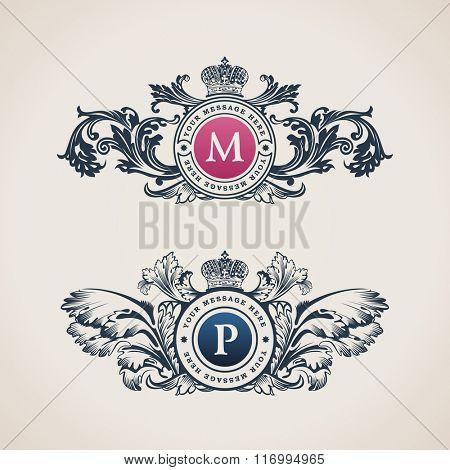 Vintage Decorative Elements Flourishes Calligraphic Ornament. Letter M, P. Elegant emblem template monogram luxury frame. Royal line logo. Vector sign for restaurant, boutique, heraldic, cafe, hotel