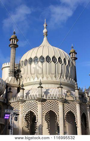 Beautiful minaret of the Royal Pavilion from Brighton
