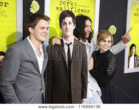 Johnny Simmons and Ezra Miller at the Los Angeles premiere of 'The Perks Of Being A Wallflower' held at the ArcLight Cinemas in Hollywood, USA on September 10, 2012.