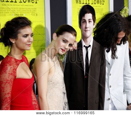 Nina Dobrev and Emma Watson at the Los Angeles premiere of 'The Perks Of Being A Wallflower' held at the ArcLight Cinemas in Hollywood, USA on September 10, 2012.