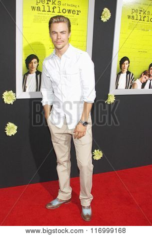Derek Hough at the Los Angeles premiere of 'The Perks Of Being A Wallflower' held at the ArcLight Cinemas in Hollywood, USA on September 10, 2012.
