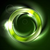 Bright glow green iridescent round logo vector design. Glowing effect and lens flare sparks on neon ring poster
