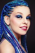 Portrait of happy smiling girl with fancy blue braids hairdo and huge false eyelashes  poster