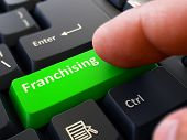 Franchising Button. Male Finger Clicks on Green Button on Black Keyboard. Closeup View. Blurred Background. poster
