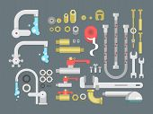 Set plumbing parts. Tube and pipe for water, metal construction, vector illustration poster