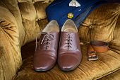 Men accessories Brown leather medallion toe wholecuts shoes poster