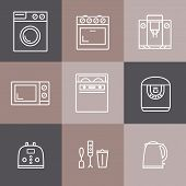 Set of household appliances vector icons: cooker, washer, blender, toaster, microwave, kettle poster