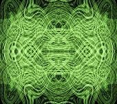a fractal background with swirling lines with a glow poster
