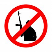 sign prohibiting terrorism on white background vector illustration poster