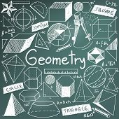 Geometry math theory and mathematical formula chalk doodle handwriting icon in blackboard background with hand drawn geometric model used for school education and document decoration create by vector poster