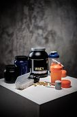 Bodybuilding nutrition supplements and chemistry  poster
