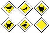 Animal priority signs isolated on white background poster