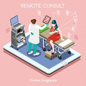 Mobile online remote medical consult clinic hospital flat 3d isometry isometric high tech healthcare interior concept vector illustration. People collection man doctor visiting on tablet device poster