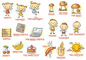 Degrees of comparison of adjectives in pictures colorful cartoon poster