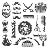 Barber Shop Vector Silhouettes and Icons Set. For Logos, Labels, Badges and Advertising. Beauty Salon Silhouette, Barber Pole Silhouette, Scissors Silhouette, Razor Silhouette, Woman Face, Man Face. poster