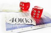Newspaper 401k headline with dice and stock market charts poster