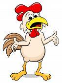vector illustration of a perplexed cartoon chicken poster