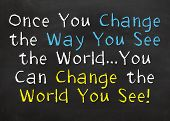Motivational Saying that you need to change your thinking and you will see the world differently poster