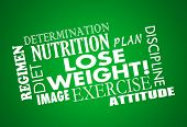 Lose Weight word collage with diet, exercise, fitness, plan, nutrition, determination, attitude and body image poster