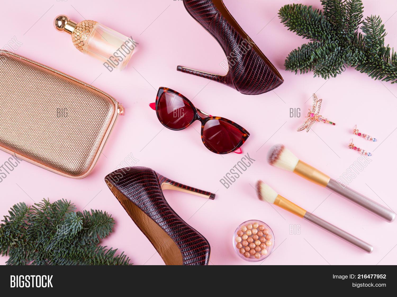 Fashion Christmas Flat Lay Scene. Image & Photo | Bigstock