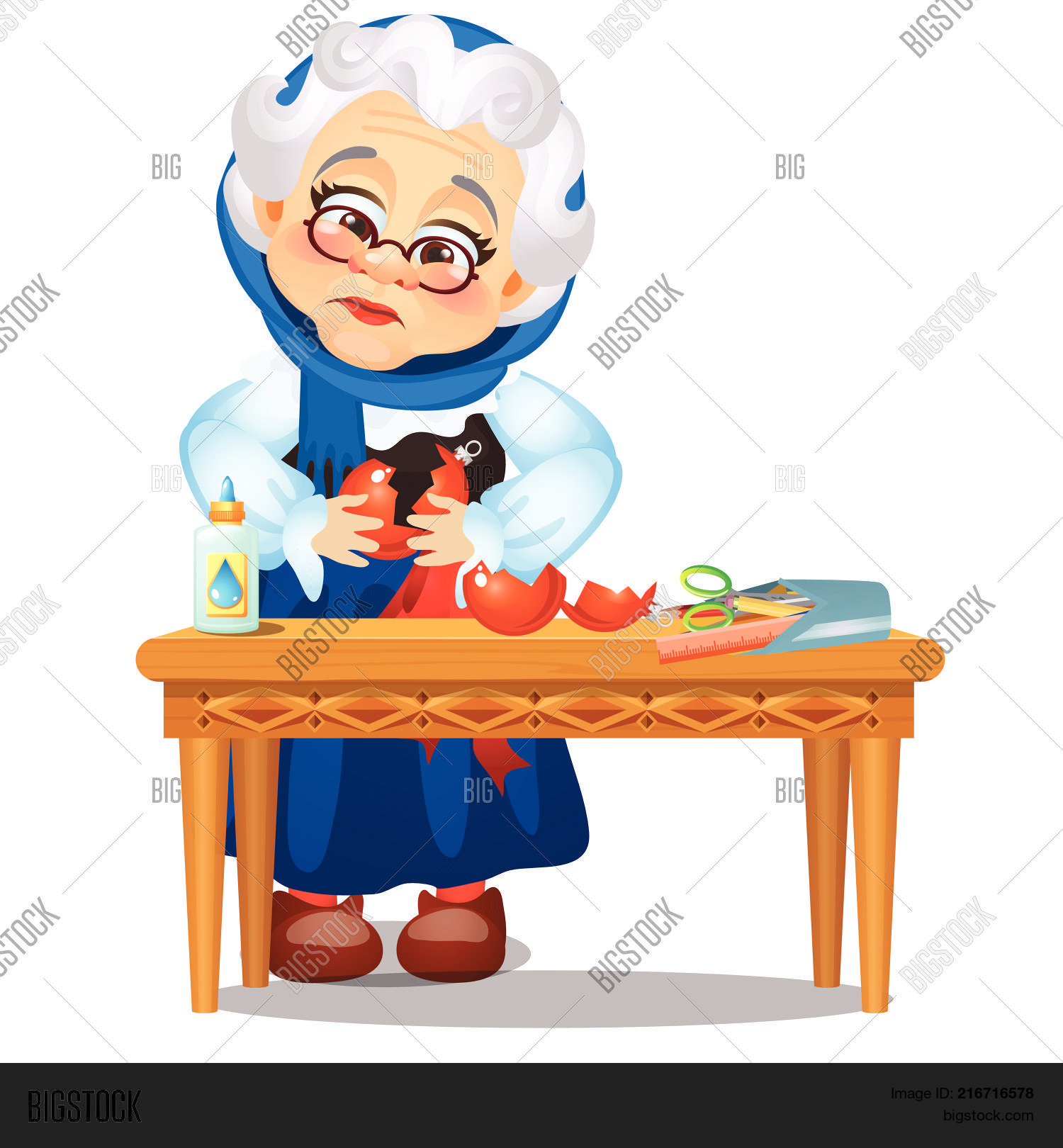 Sad Animated Old Lady Vector & Photo (Free Trial) | Bigstock