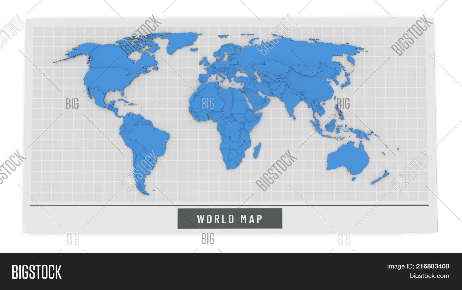 D Bump Map Blue Color Image Photo Free Trial Bigstock - World map in blue color