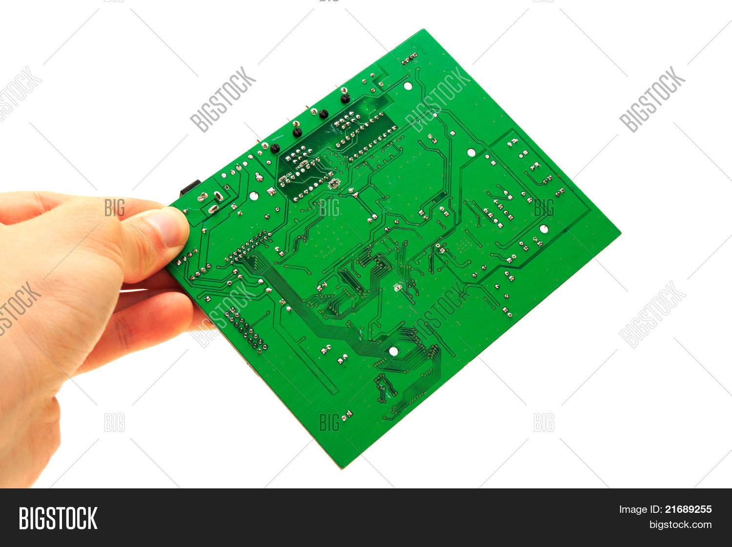 Human Hand Holding Image Photo Free Trial Bigstock Green Computer Circuit Board With Electronics Components And