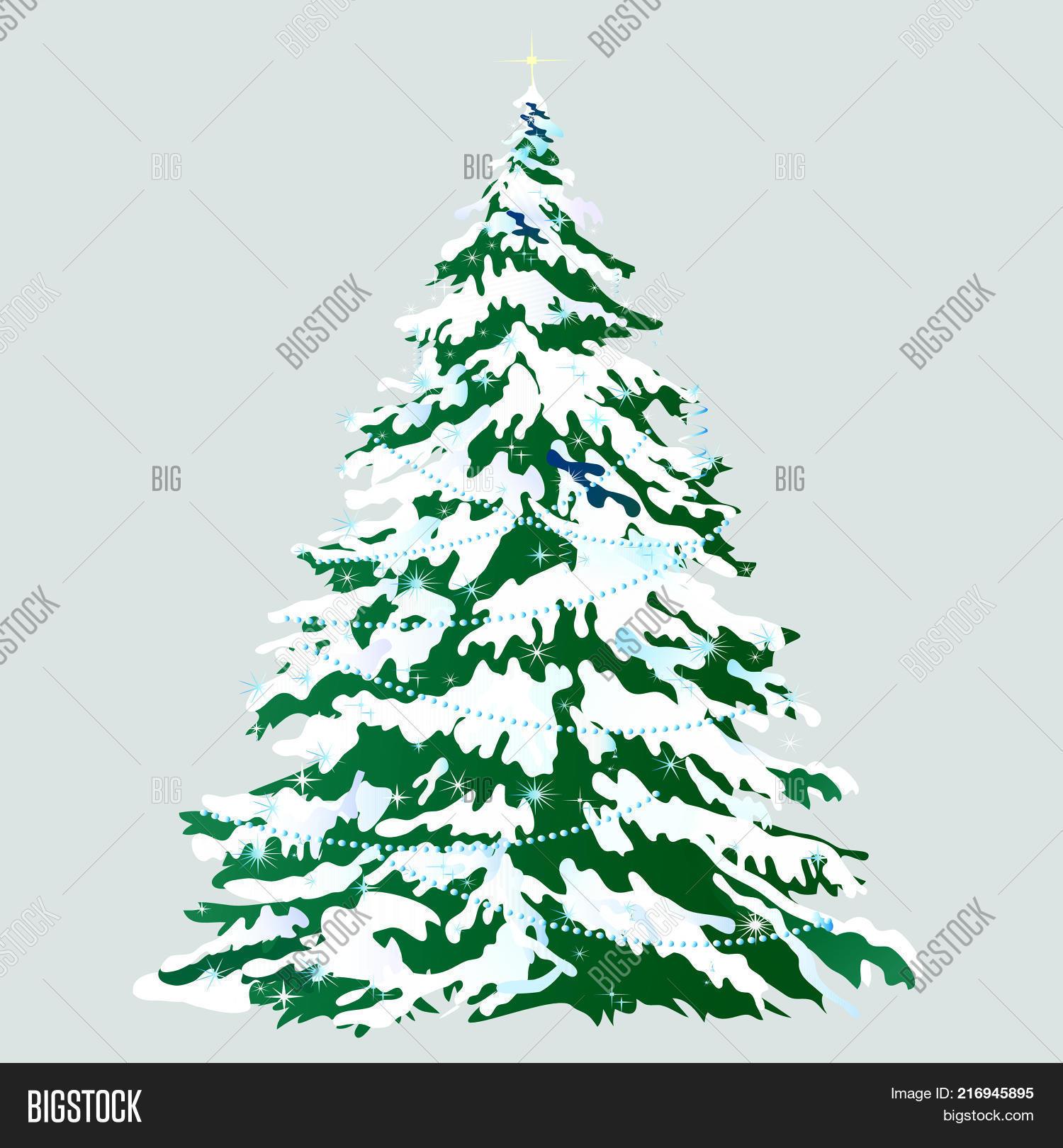 Christmas Tree Snow Vector Photo Free Trial Bigstock